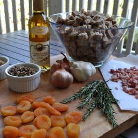 Pancetta Apricot Stuffing with a Brandy Pecan Glaze