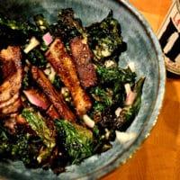 crispy kale and steak salad with a pale ale dijon dressing
