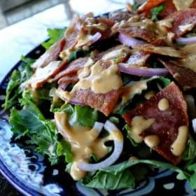 spicy salami and hummus salad
