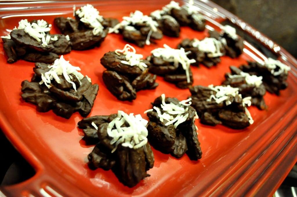 dark chocolate chili pecan clusters