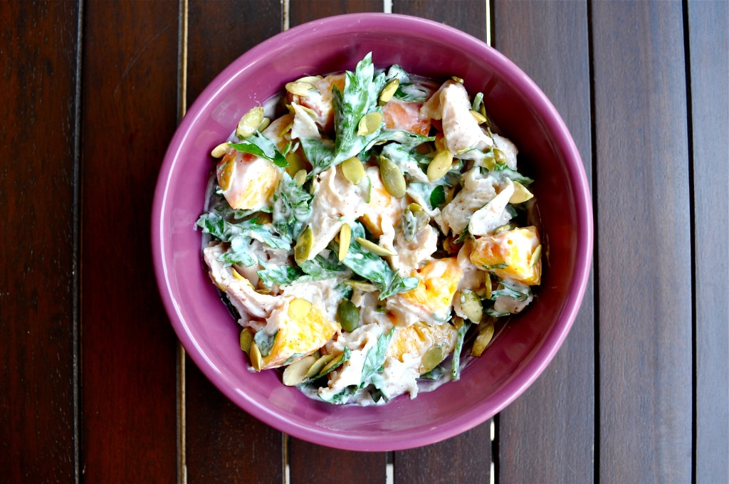 a bowl of creamy turkey peach salad