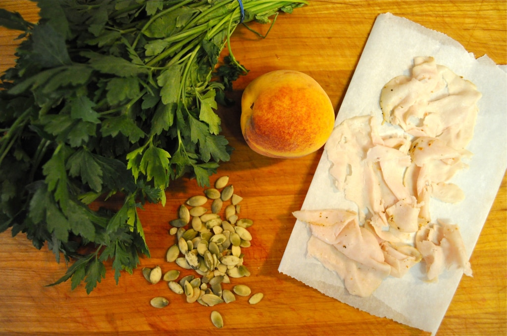 overhead view of ingredients to make creamy turkey peach salad