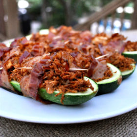 Bacon Wrapped Stuffed Zucchini