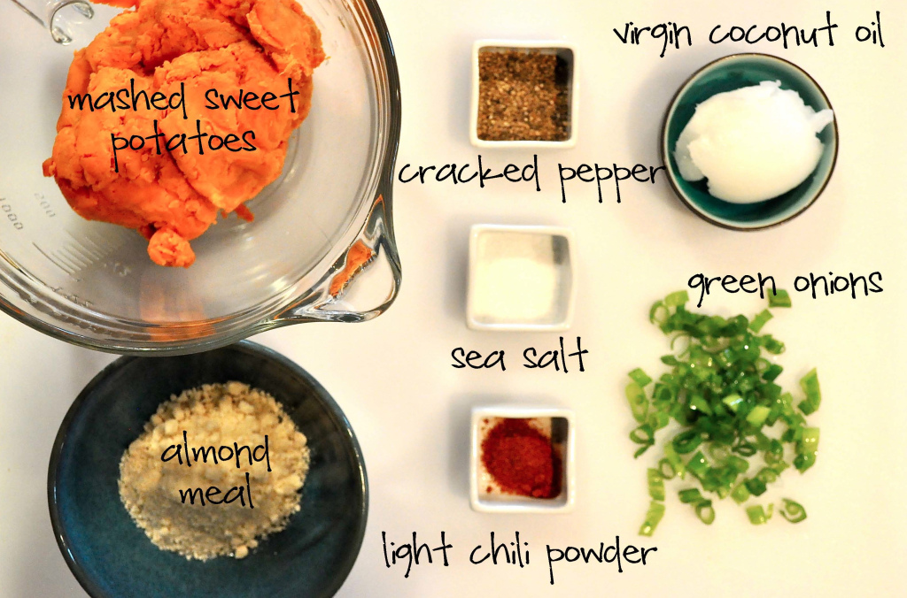 ingredients for Paleo Sweet Potato Fritters