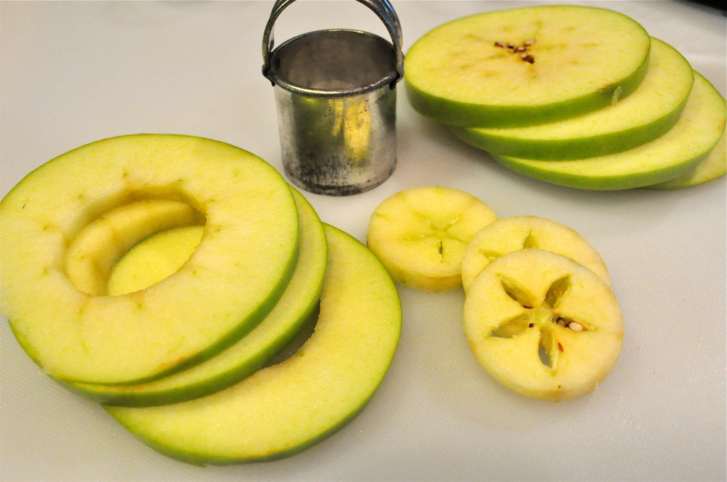 green apples cored