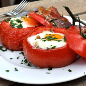 Baked Tomato Egg Breakfast