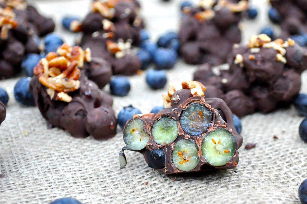 dark chocolate blueberry clusters