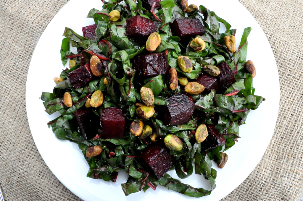 Shredded Swiss Chard and Roasted Beet Salad