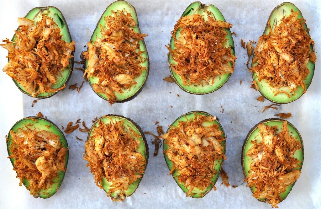 Paleo Stuffed Avocados with Cilantro Lime Cream Sauce