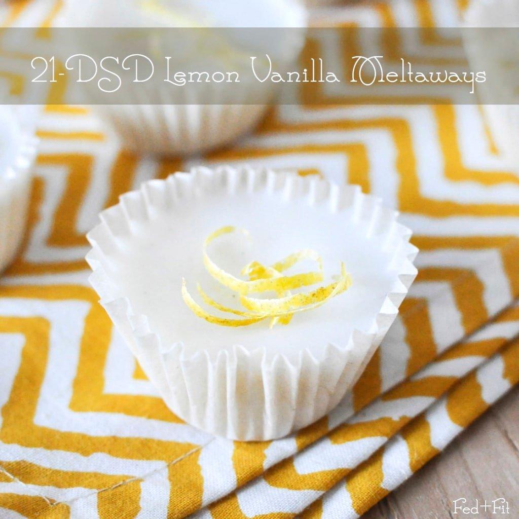 one white lemon vanilla meltways with lemon zest and yellow napkin