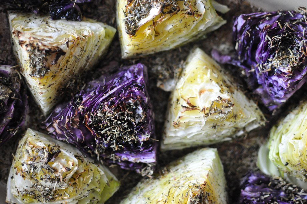 Gather's Roasted Green and Purple Cabbage