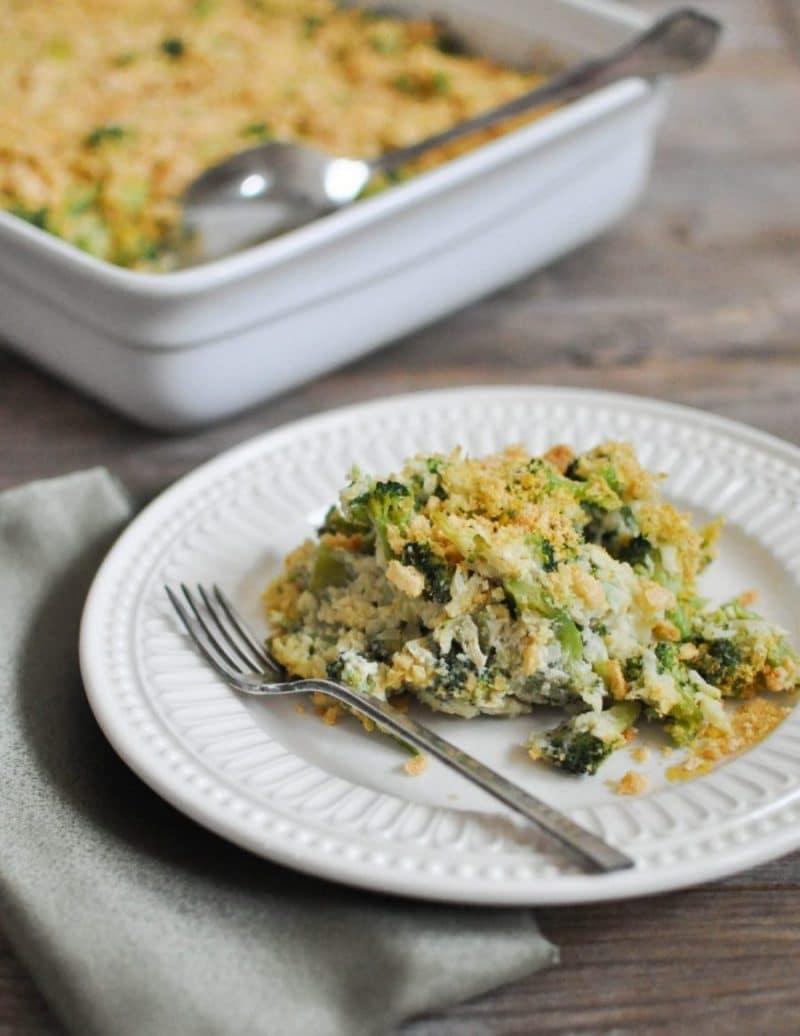 white plate of Cheesy Broccoli Casserole