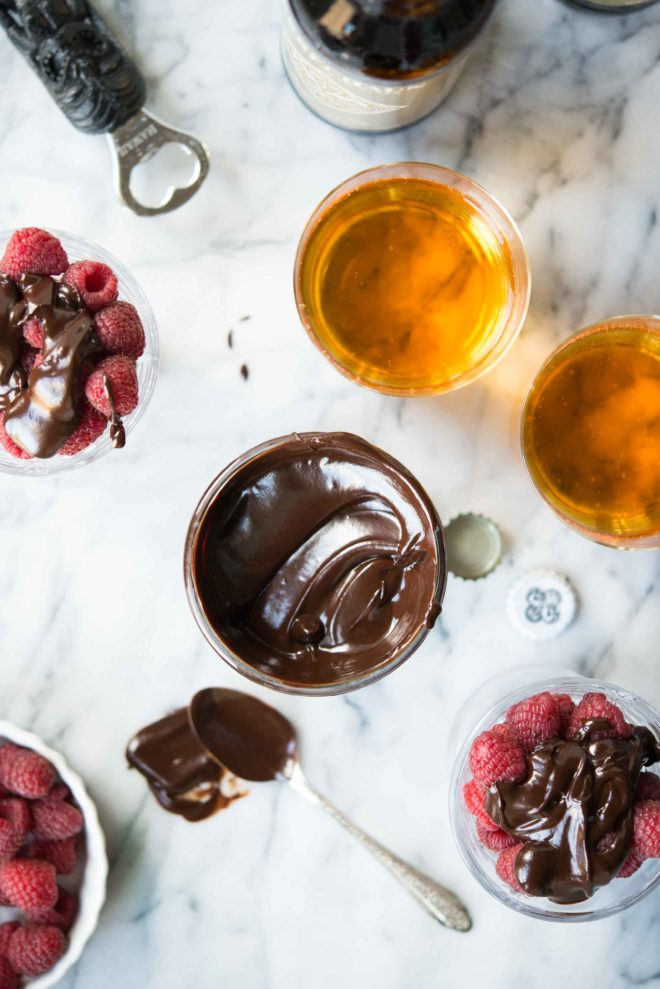 Hard Cider Ganache over raspberries