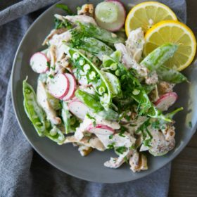 Chicken Salad with Snap Pea Radish Slaw