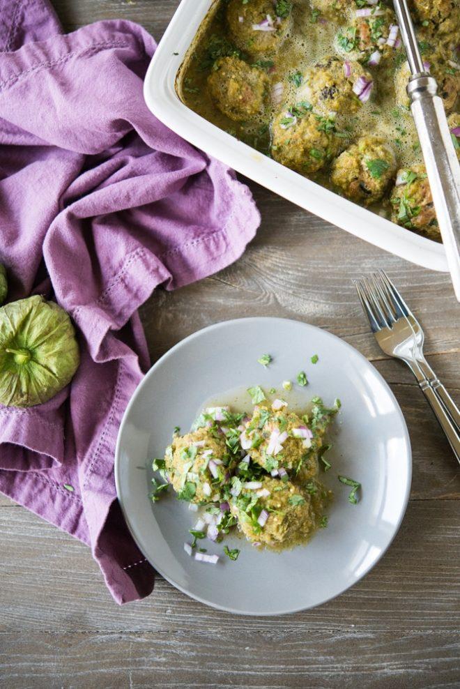 overhead view of Enchilada Verde Turkey Meatballs