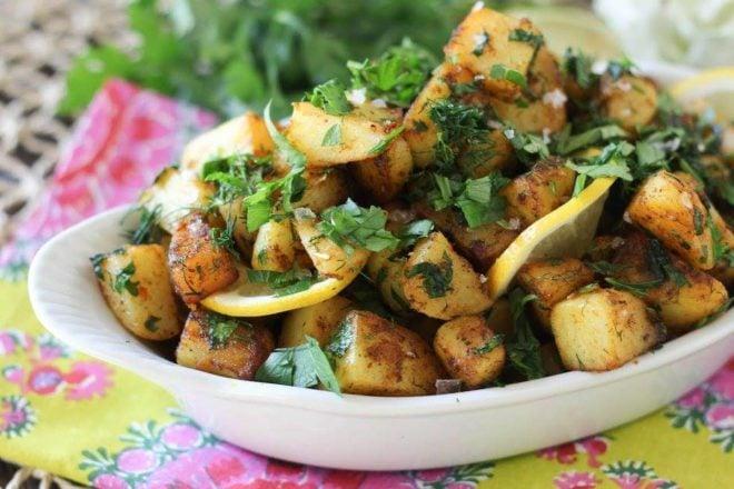 a bowl of lemon herb dill potatoes