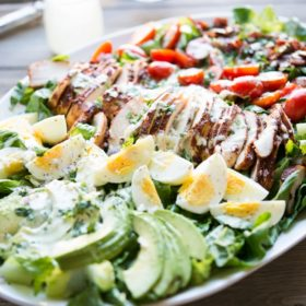 Chicken BBQ Salad with Jalapeno Ranch Dressing