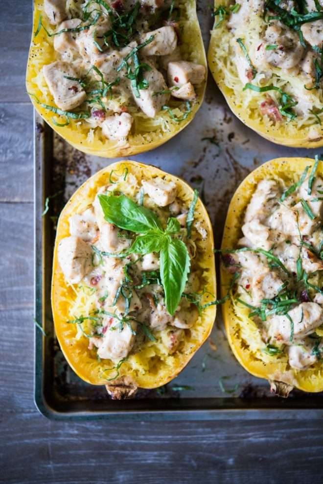 creamy chicken bacon spaghetti squash boats