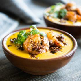 Chorizo Shrimp Kabocha Squash Soup