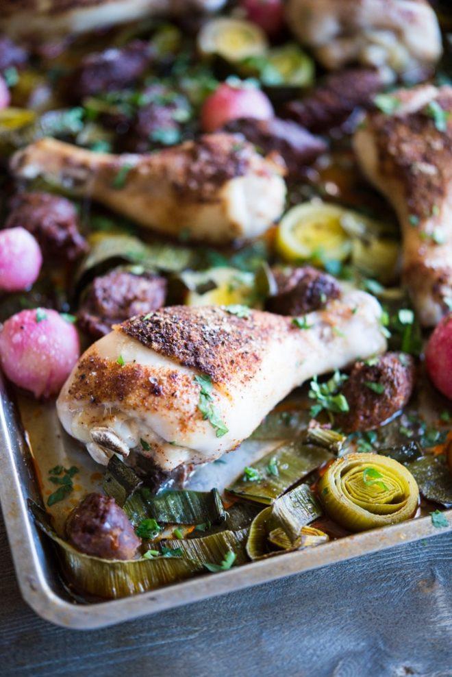 chicken chorizo sheet pan dinner