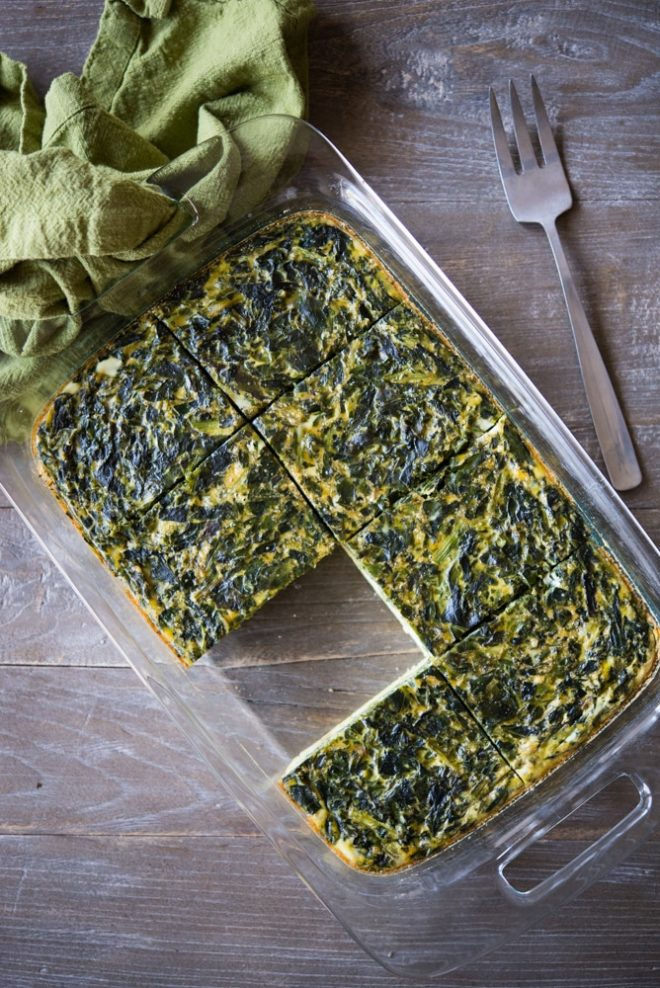 Paleo Clean Start Breakfast Casserole with spinach and hash browns