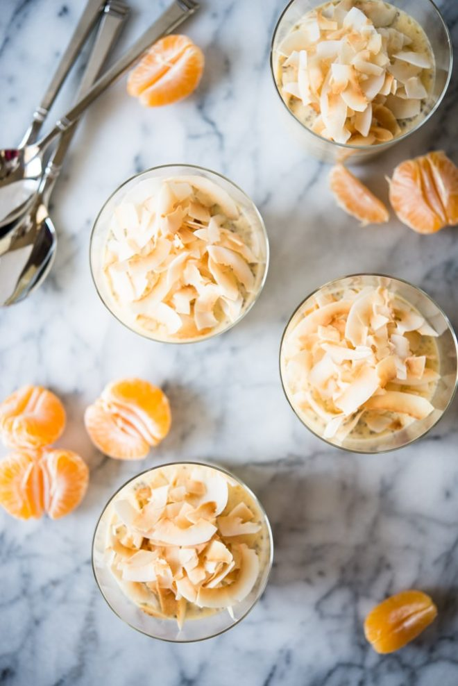 overhead view of Creamsicle Chia Pudding