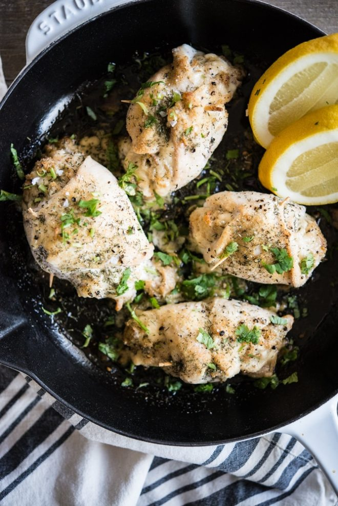 overhead view of Crab Stuffed Chicken Breast in a skillet
