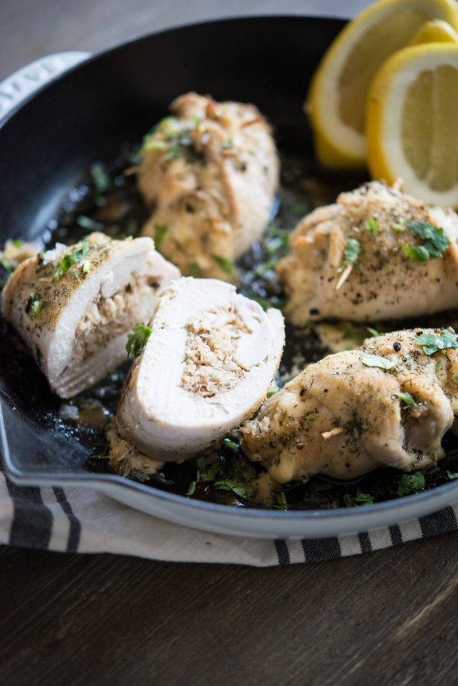 Crab Stuffed Chicken Breast in a skillet