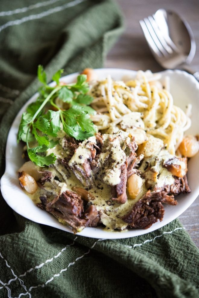 Pot Roast Pasta with Green Magic Sauce