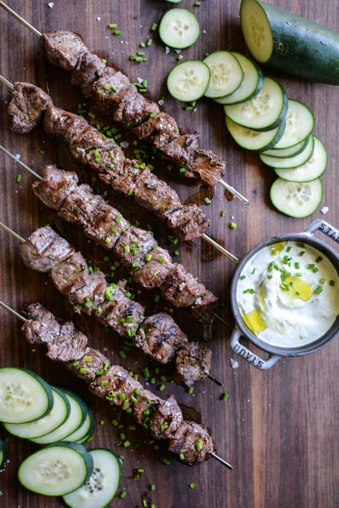 greek beef kabobs and homemade tzatziki