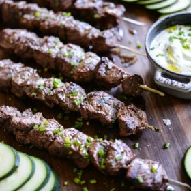 Greek Beef Kabobs & Homemade Tzatziki