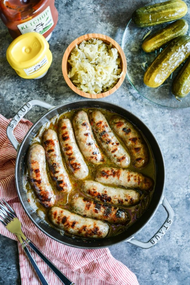 Gluten Free Hard Cider Brats with Caramelized Onions | Fed & Fit