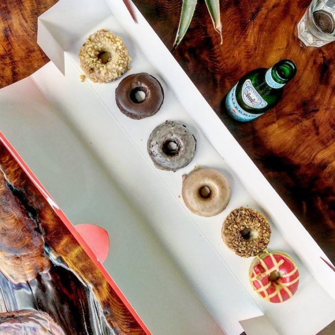 overhead view of gluten free donuts