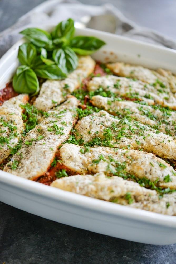 paleo chicken parmesan casserole