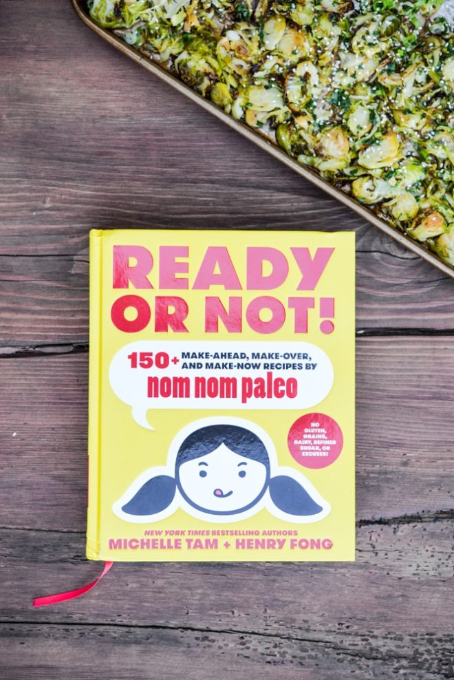 overhead view of the book Ready or Not 150+ make ahead recipes by Nom Nom Paleo