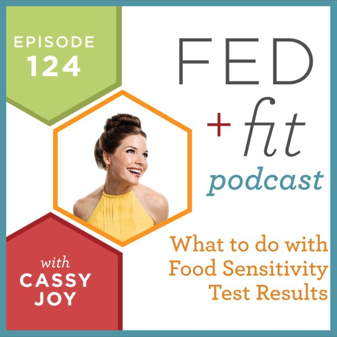 Fed and Fit podcast graphic, episode 124 what to do with food sensitivity test results with Cassy Joy