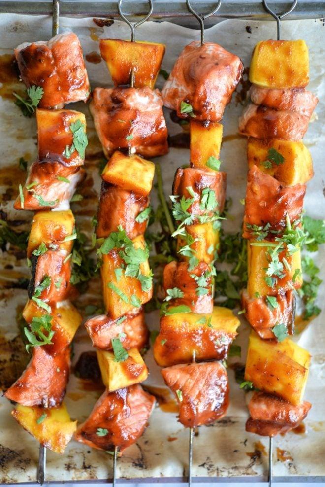 BBQ salmon mango kabobs