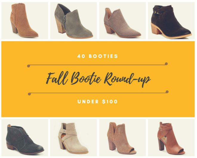 40 booties under $100 fall bootie round up text in a yellow rectangle surrounded by 8 different pairs of booties