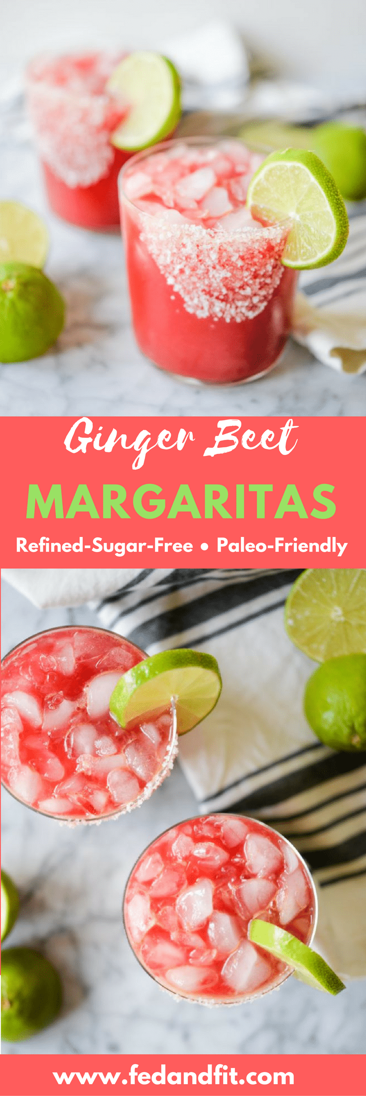 These skinny Ginger Beet Margaritas are a great twist on the classic recipe and easy enough for a crowd! Even better, they are Paleo-friendly and refined-sugar-free for the perfect healthier margarita.