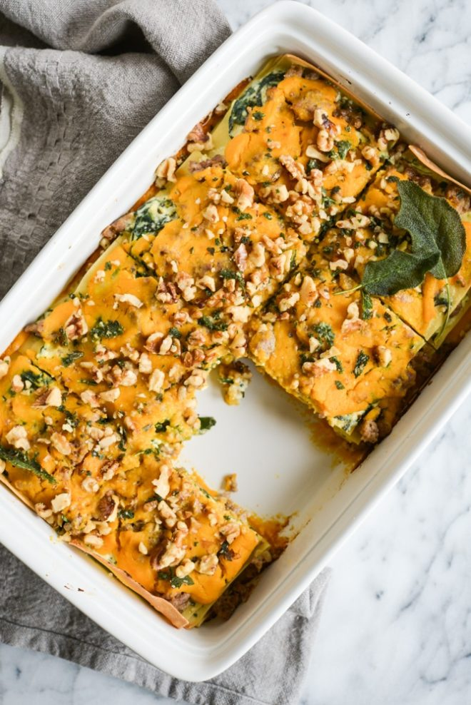 This Paleo & gluten free butternut squash lasagna is absolute fall comfort food, featuring a creamy squash puree, ricotta (DF option included), and savory fried sage.
