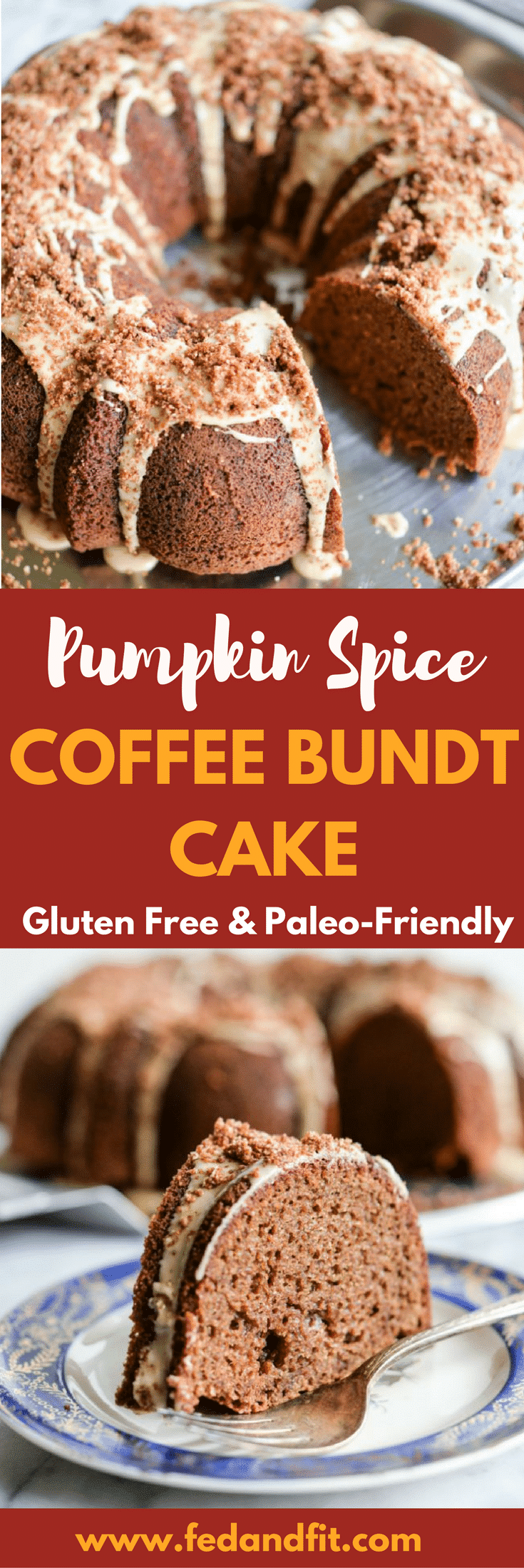 This Pumpkin Spice Coffee Bundt Cake with a Cold Brew Frosting is gluten free, Paleo-friendly, and the perfect treat for brunch or even Christmas morning! | Fed & Fit