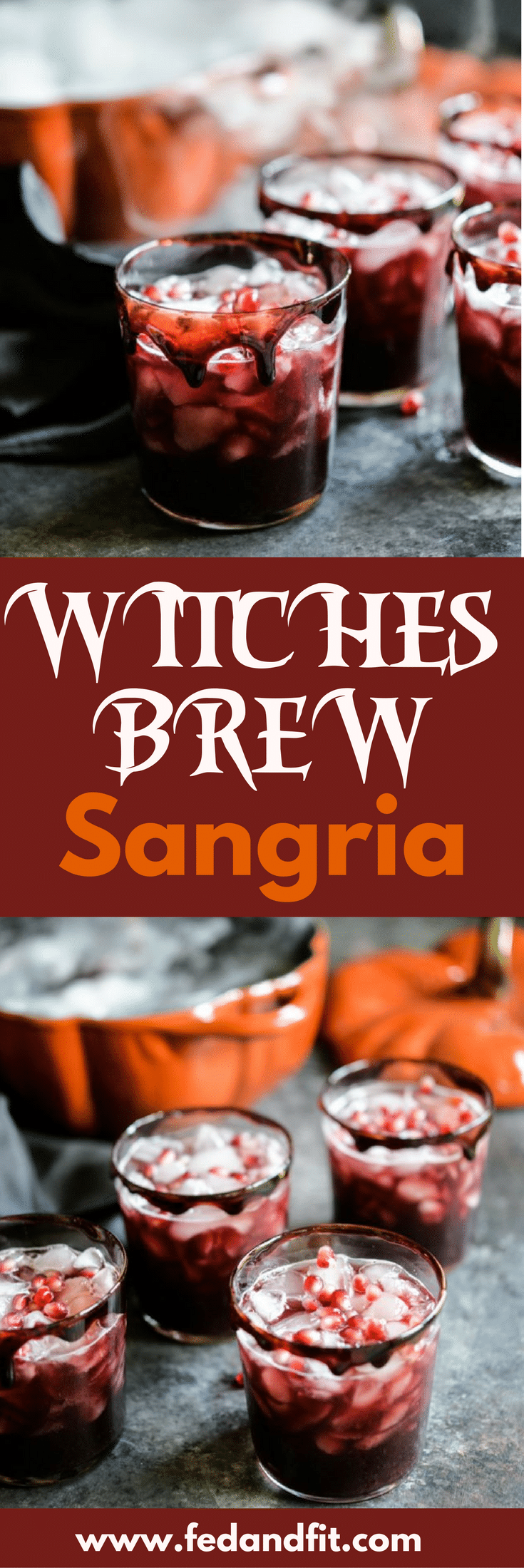 This Witches Brew Black Sangria is the perfect batch cocktail to make for your Halloween party this year. This punch is complete with spooky dry ice and fake blood rims made from cherry juice.