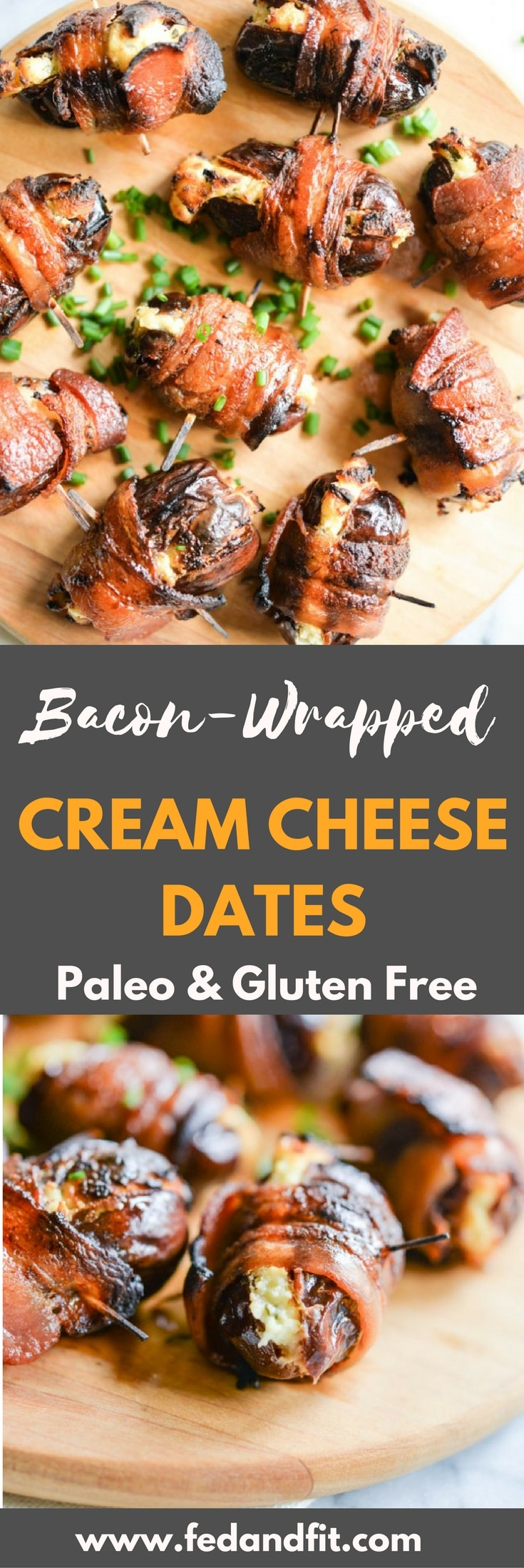 These bacon-wrapped dates are the perfect, simple, salty-sweet appetizer for your holiday parties this season! Dates are stuffed with cream cheese (Paleo option included), wrapped in bacon, and crisped to perfection!