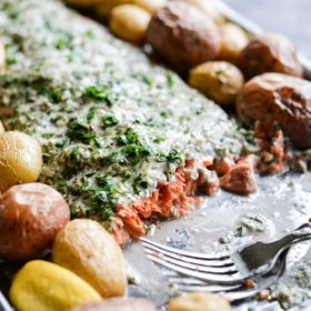 Herb Crusted Salmon & Potato Bake