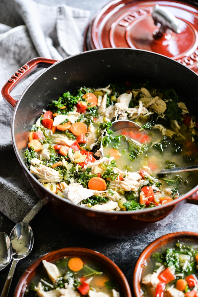 Squeaky Clean Chicken & Veggie Soup - thanksgiving leftover recipes