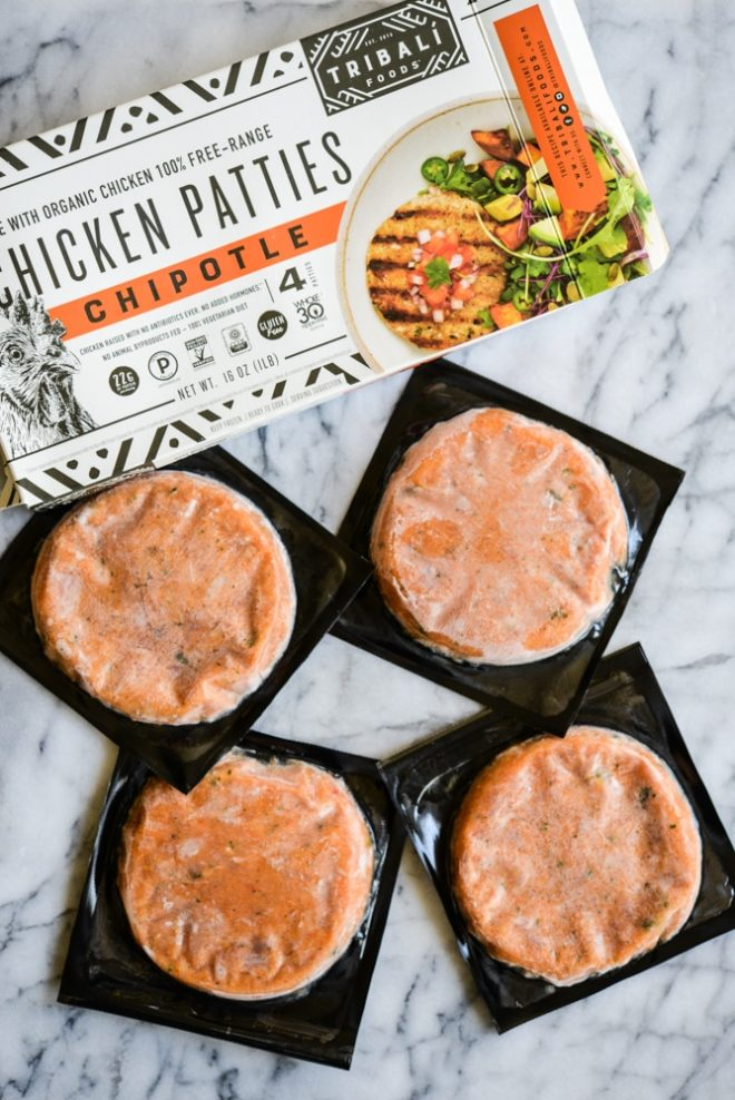 overhead view of a box of tribali chipotle chicken patties and frozen patties