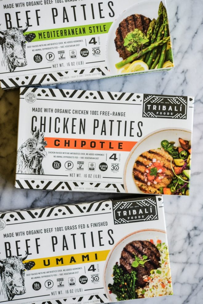 overhead view of boxes of tribal frozen patties