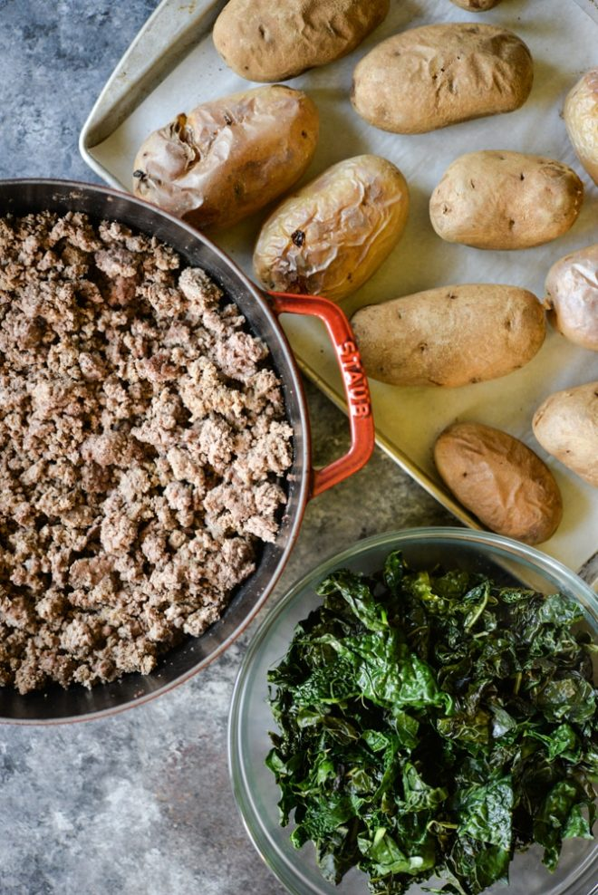 ground beef, baked potatoes, and kale meal prep