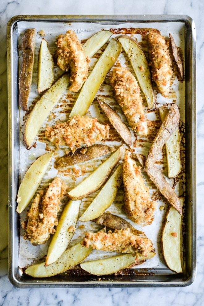 Sheet Pan Chicken Fingers & Fries