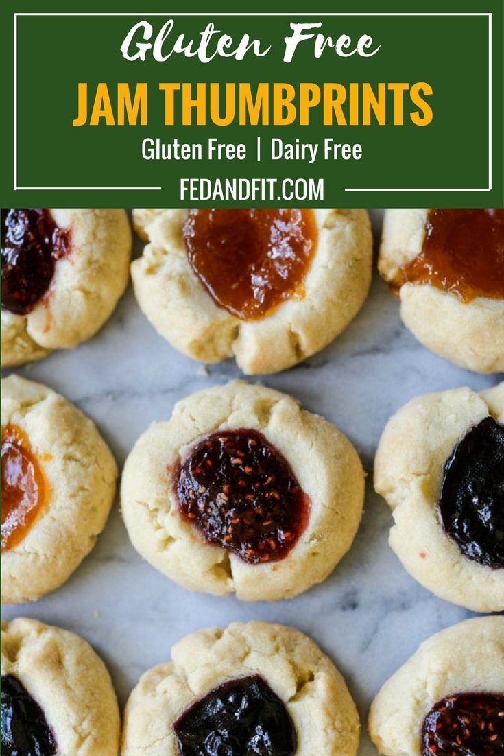 These easy gluten free jam thumbprint cookies have a buttery shortbread base that is topped with your choice of jam (we love raspberry and apricot!) or you could melt chocolate in side for a Christmas treat that will please everyone!